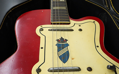 "Close-up of the guitar used in production of ""Seven Guitars""."