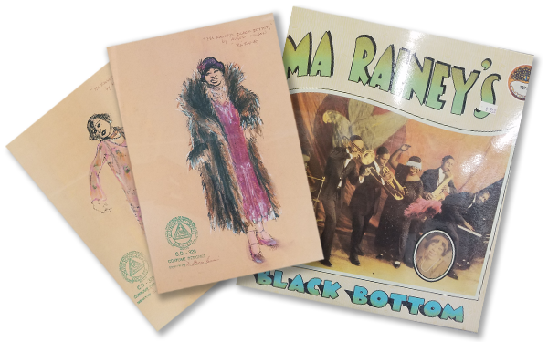 2 illustrations of costume designs and an album cover of Ma Rainey's Black Bottom