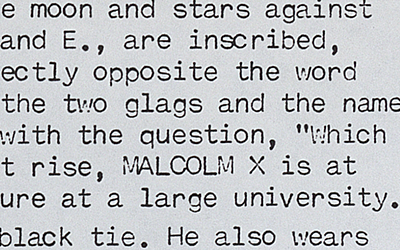 Close up of the word 'MALCOLM X' from Wilson's unpublished play.