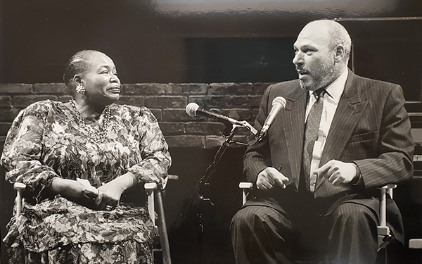 August Wilson, right, with actress, Theresa Merritt, left, in Alley Theatre. 1994.